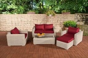 Madeira - Lounge set - Rotan kleur : wit overtrek robijnrood