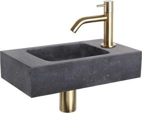 Fonteinset Differnz Force Rechthoek 40x22x9cm Bombai Natuursteen Zwart Gebogen Toiletkraan Clickwaste Sifon Geborsteld Goud