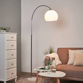 Booglamp Sveri met marmeren voet en witte kap - lampen-24
