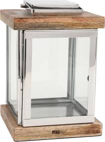 PTMD Collection   Lantaarn Eames lengte 20 cm x breedte 20 cm x hoogte 30 cm zilverkleurig lantaarns aluminium, hout decoratie   NADUVI outlet