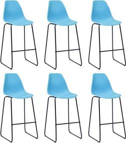 Barstoelen 6 st kunststof blauw