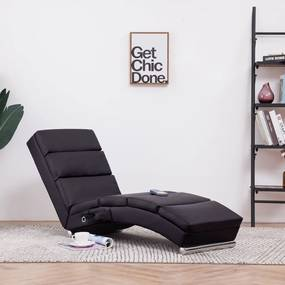 Massage chaise longue kunstleer bruin