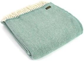 Plaid wol: zeegroen visgraat, fishbone