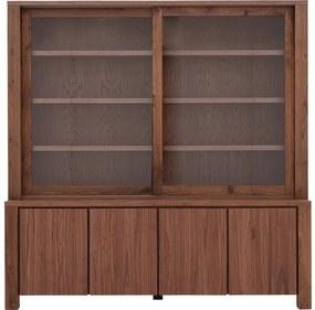 Goossens Buffetkast Plain, 2 glasdeuren 4 dichte deuren, roodbruin noten, 210 x 213 x 45 cm, stijlvol landelijk
