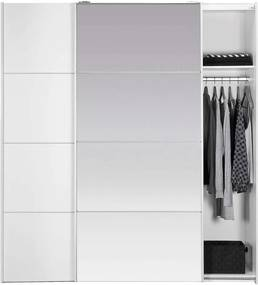 Schuifdeurkast Verona - wit/spiegel - 200x182x64 cm - Leen Bakker