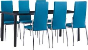 7-delige Eethoek kunstleer blauw