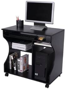HOMdotCOM Computertafel bureau op wielen zwart 80 x 48 x 76cm