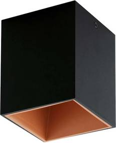 EGLO plafondspot Polasso - zwart/koper - 10x10 cm - Leen Bakker