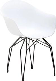 Goossens Eetkamerstoel Ta wit kunststof met arm, modern design