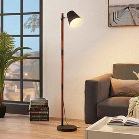 Vloerlamp Birte, zwart met houten element - lampen-24
