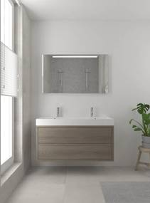 Box badmeubelset 120 cm dubbele waskom | spiegel- orlando eiken