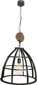 Brilliant hanglamp Matrix - zwart/antiek staal - Leen Bakker