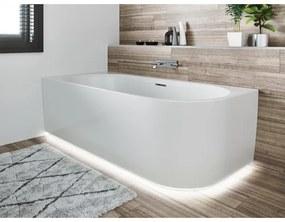 Riho Desire hoekbad acryl bad rechts 184x84cm met sifon met Chroom badvuller met LED plint glans wit BD05C0500K00133