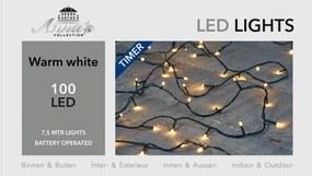 Lichtsnoer zwart op batterijen 100 lampjes