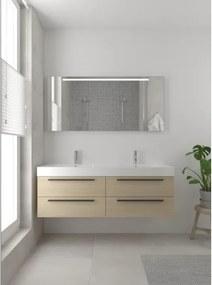 Bruynzeel Bando badmeubelset 150x45cm 2 kraangaten 2 wasbakken 4 lades met spiegel met softclose Composiet natuur eiken 123101978