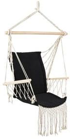 Hangstoel met franjes - zwart - 90x95x50 cm