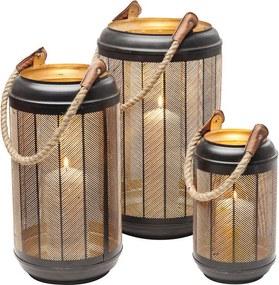 Kare Design Line Rope Set Windlichten Zwart Goud Graat