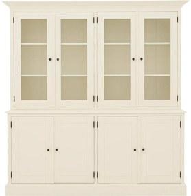 Goossens Buffetkast Nantes, 4 glasdeuren 4 dichte deuren, wit mdf, 203 x 210 x 63 cm, stijlvol landelijk