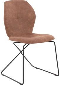 Goossens Eetkamerstoel Manzini bruin microvezel modern design