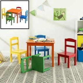 Kindertafel met stoeltjes van hout - 1 tafel en 4 stoelen voor kinderen - Rood, blauw, groen geel, oranje - Kleurtafel / speeltafel / knutseltafel / tekentafel / zitgroep set - ®