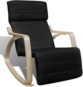Schommelstoel met houten frame verstelbaar zwart