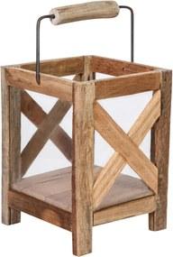 PTMD Collection | Lataarn Budy lengte 20 cm x breedte 20 cm x hoogte 38 cm naturel lantaarns hout decoratie kaarsen & kandelaars | NADUVI outlet
