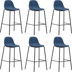 Barstoelen 6 st stof blauw