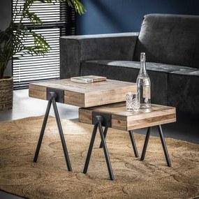 Dimehouse | Bijzettafel Robbie Set lengte 50 cm x breedte 50 cm x hoogte 45 cm bruin bijzettafels hout, metaal meubels tafels | NADUVI outlet