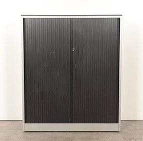 Roldeurkast, zwart, 144 x 120 cm, incl. 3 legborden *ster2*