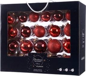 Kerstbal glas mix rood assorted rood/kleur(en)