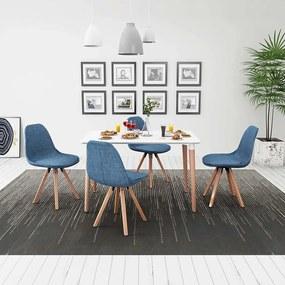 Eetkamerset 5-delig wit en blauw