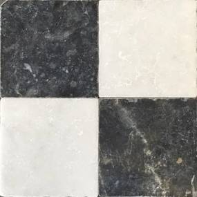 Kerabo Vloer- en wandtegel Dambord wit marmer en Turks hardsteen anticato 20x20x1 cm Natuursteenlook Getrommeld Multi SW0732406