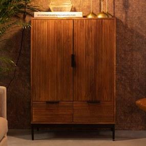 Mangohouten Wandkast Met Ribbels - 80x40x115cm.