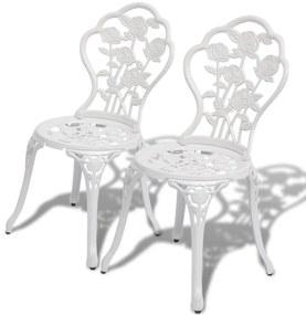 Bistrostoelen 2 st gegoten aluminium wit