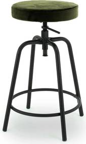 24Designs Rexley In Hoogte Verstelbare Kruk - Olijfgroen Fluweel - Zwart Metalen Frame