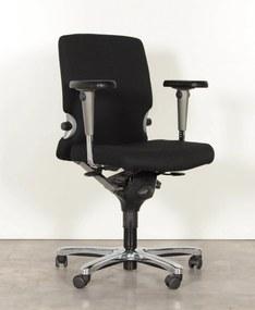 Bureaustoel 77, zwart, (opnieuw gestoffeerd) 3D armleggers