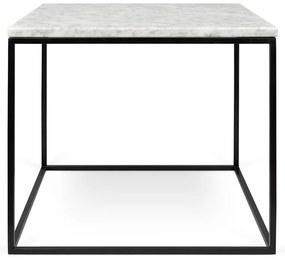 TemaHome Gleam Marble Bijzettafel Van Wit Marmer - Zwart Onderstel - 50 X 50cm.