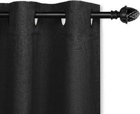 Lifa Living Geweven Gordijn - Ringen - 150 x 260 cm - Verduisterend & Isolerend Kleur: Zwart
