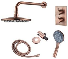 Inbouw Regendouche Set Boss & Wessing Copper met Wanduitloop en 3 Standen Handdouche Geborsteld Koper 20 cm