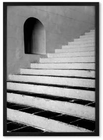 Architecture and Steps ingelijste print, A1, zwart & wit