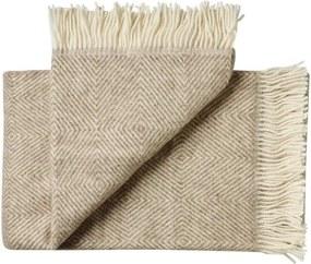 Plaid / deken beige, wol, visgraat 1 persoonsbed