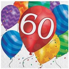 60e verjaardag ballon blazen lunch servetten 16pk