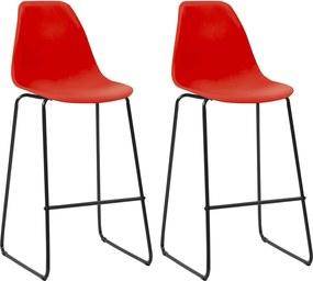 Barstoelen 2 st kunststof rood