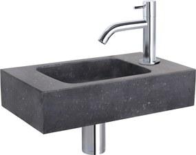 Fonteinset Differnz Force Rechthoek 40x22x9cm Bombai Natuursteen Zwart Gebogen Toiletkraan Clickwaste Sifon Chroom