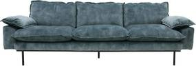 HKliving Retro Sofa Fluwelen Retro Bank Petrol Blauw 4-zits