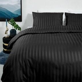 Dekbed-Discounter Satin Stripes - Zwart 1-persoons (140 x 200/220 cm + 1 kussensloop) Dekbedovertrek