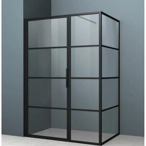 Douchecabine Driedelig Lacus Tremiti 90 6mm Helder Glas Mat Zwart Aluminium Profiel