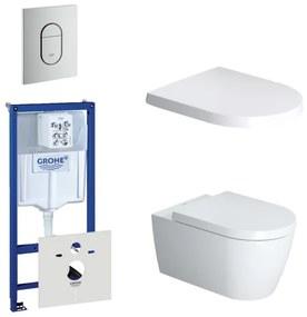 Duravit ME by Starck toiletset bestaande uit inbouwreservoir, diepspoel compact wandcloset met softclose toiletzitting en bedieningsplaat verticaal mat chroom 0729205/0293433/0293435/0729241