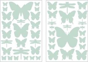 Art For The Home muurstickers Vlinder & Libel - mintgroen - 17,5x25 cm - Leen Bakker