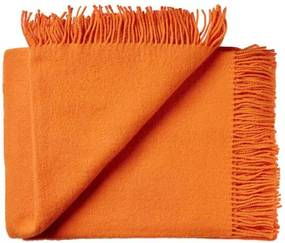 Plaid wol: effen, oranje, Carrot